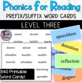 Phonics for Reading Level Three Prefix/Suffix Flashcards/W