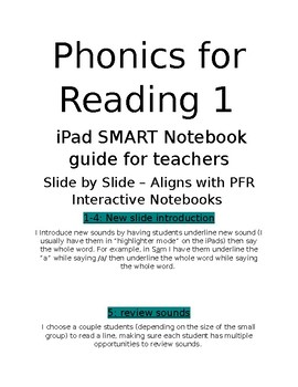 Phonics for Reading 1 SMART Notebook (on student tablets) Teacher Guide