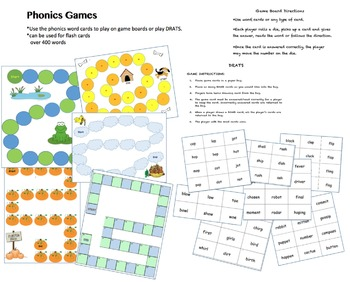 Phonics games - game boards with word cards - cvc through