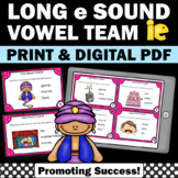 ie Long Vowel Activities, Vowel Team Practice Task Cards, Phonics Centers