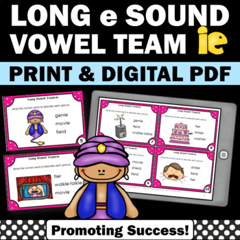 Long Vowels ie Task Cards for Phonics Games Word Work & Ac