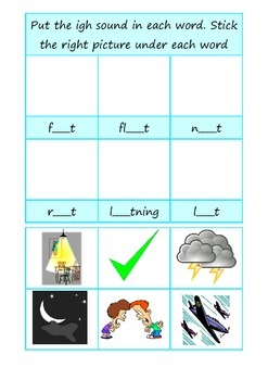 Phonics igh long i cut and stick worksheet