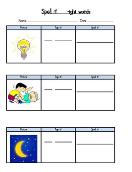 Phonics: -ight poem and spelling activity