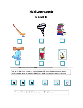Phonics---Initial letter Worksheet b and s  for the non-writer