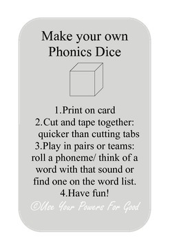 Phonics letters and sounds Dice Game phase 2 3 sounds