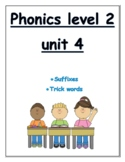 Phonics level 2 unit 4: suffixes, trick words *updated*