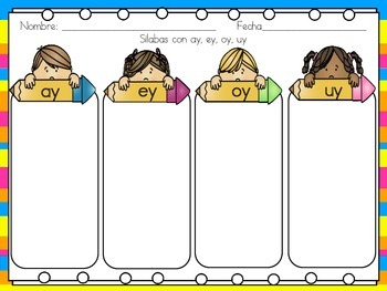 Advanced Phonics or Word Work Sheets in Spanish for the Bilingual Classroom