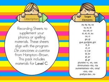 Advanced Phonics or Word Work Sheets in Spanish for the Bi