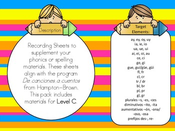 Phonics or Word Work Sheets in Spanish for the Bilingual Classroom Bundle