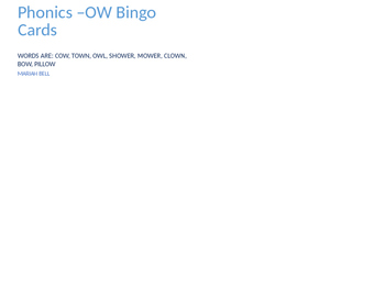Phonics -ow Bingo Cards