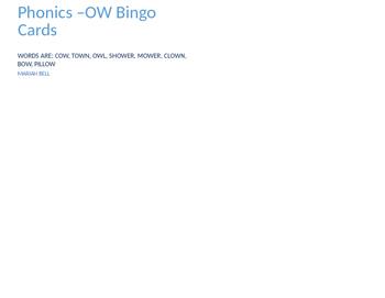 Phonics -ow Bingo Cards