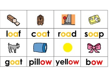 Phonics ow  oa Picture & Word Cards