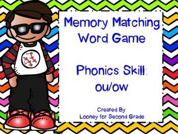 Phonics (ow/ou) Matching Memory Game