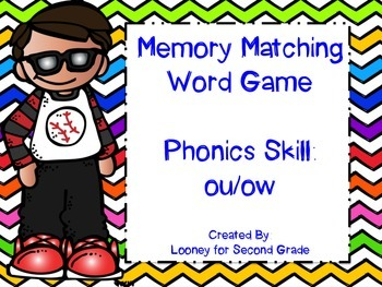 Phonics (ow/ou) Matching Memory Game