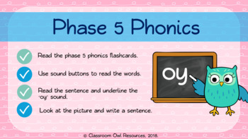 Phonics powerpoint + worksheets - the 'oy' sound