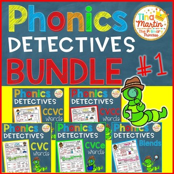 Phonics printables BUNDLE 1 (Detecitve theme: CVC,CVCC,CCVC,CVCe,Blends)