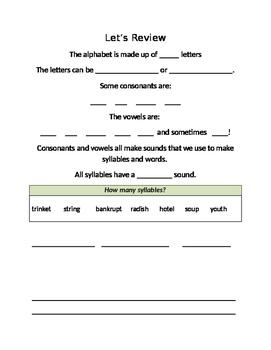 Phonics review - alphabet, consonants, vowels, blends, digraphs, floss & ck rule