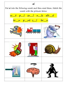 "Phonics simple worksheet for practising the long ai grapheme ""ai"""