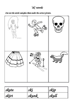 Phonics 'sk' cut and paste activity