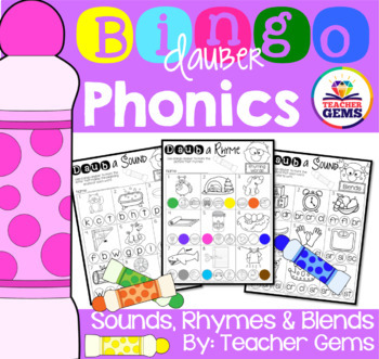 Phonics with Bingo Daubers - Initial, Middle and Final Sounds, Rhymes and Blends