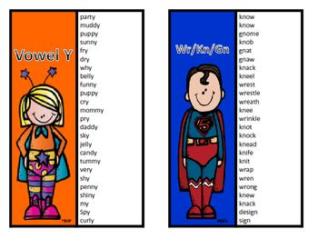 Phonics word card sheets