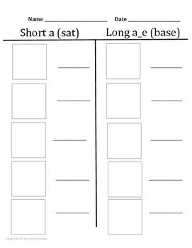 Phonics word sort short a and long a