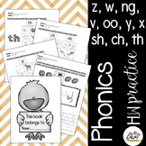Phonics worksheets 5, 6 (z, w, ng, v, oo, y, x, sh, ch, th)