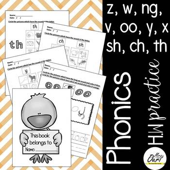 Phonics worksheets 5, 6 (z, w, ng, v, oo, y, x, sh, ch, th)