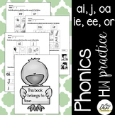 Phonics worksheets 4 (ai, j, ie, oa, ee, or)