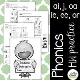 Phonics worksheets 4 (ai, j, ie, oa, ee, or)