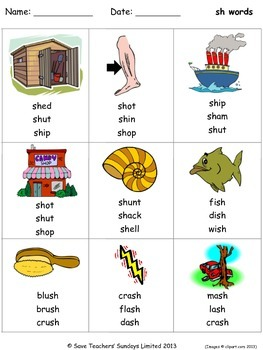 Phonics worksheets - circle the correct word to go with each image
