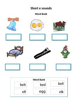 Phonics worksheets for the non-writer  --short vowel sounds