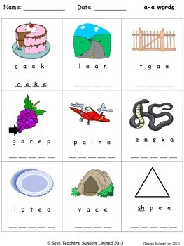 Phonics worksheets - unscramble the letters