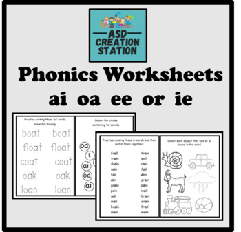 Phonics worksheets x24 Jolly phonics Set 4: ai, j, oa, ee ...