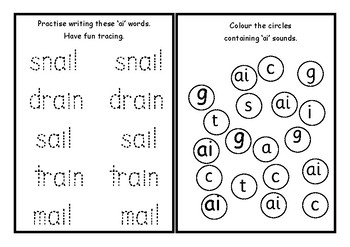 Phonics worksheets x24 Jolly phonics Set 4: ai, j, oa, ee, or, ie