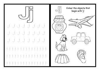 Phonics worksheets x28 Jolly phonics Set 5: q, w, v, y, x, z and j