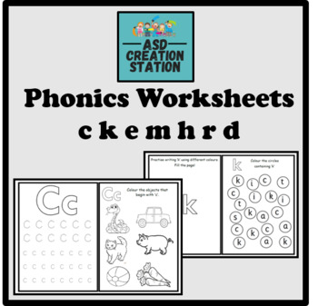 Phonics worksheets x28 for letters ckemhrd