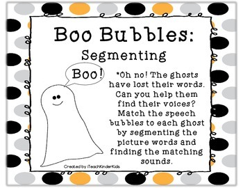 Literacy Center October: Segmenting Word Work Center