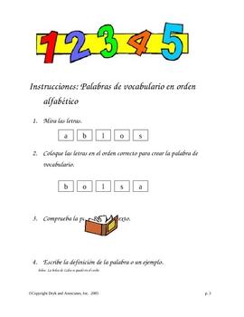 Phonics/Spelling:  ABC Order Vocabulary Words (English and Spanish)