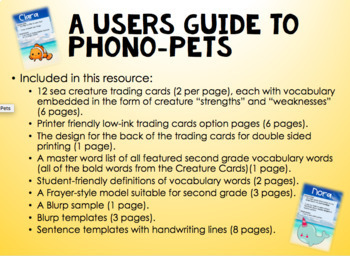 Phono-Pets Creature Cards... Like Pokemon, but for Vocabulary Development!
