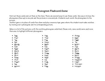Phonogram Flashcard Game