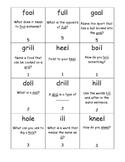 Final /l/ sound Phonolanguage Card Game