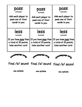 Final /s/ Word Phonolanguage Card Game