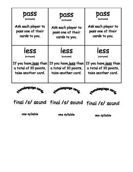 Final /s/ Word Phonolanguage Card Game