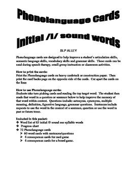 Initial L Word Phonolanguage Card Game