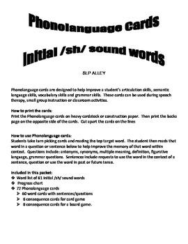 Initial SH Word Phonolanguage Card Game