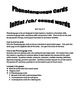 Initial /ch/ word Phonolanguage Cards Game