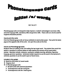 Initial /s/ Word Phonolanguage Card Game