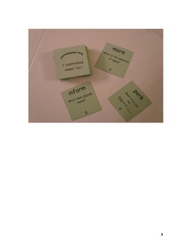 R Controlled Vowels- OR Words Phonolanguage Card Game