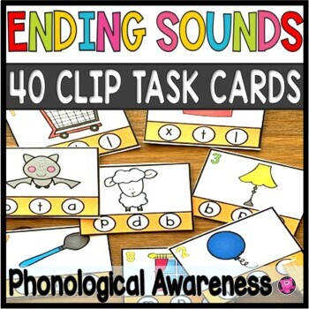 Ending Sounds Phonological Task Cards for Emerging Readers